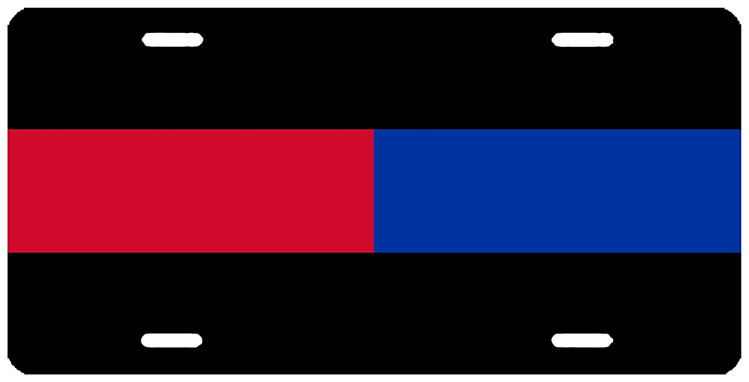 Thin Blue Red Line Lives Matter License Plate Novelty Auto Car Tag Vanity Gift For Police Officer Firefighter PD FD Rogue River Tactical KDWVMA2689
