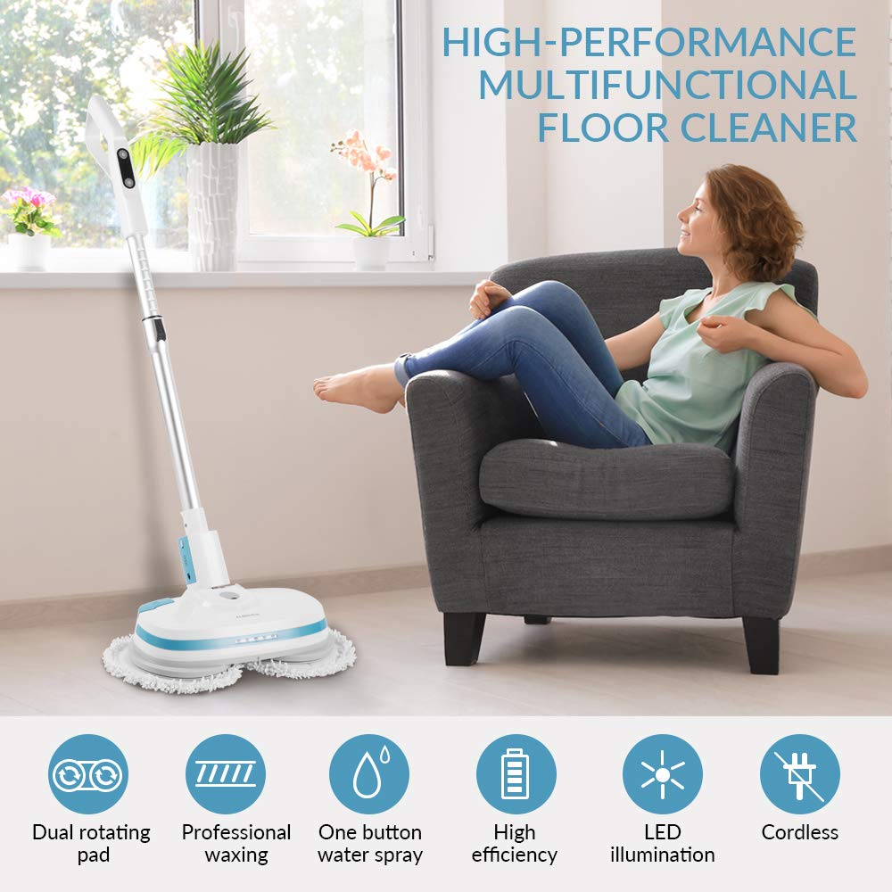ALBOHES Cordless Spin Mop, Electronic Dual and Polisher Rechargeable Powered Floor Cleaner for All Surfaces - Rechargeable Spinning Mop-Polisher and Scrubber for Indoor Use - Reusable Pads by ALBOHES (Image #5)