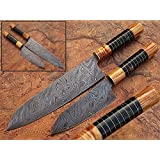 Damascus Steel Chef Knife Olive Wood And Buffalo Horn Handle 2 pcs Set