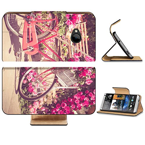 HTC One M7 Flip Case bicycle and flowers with filter effect retro vintage style 38001371 by MSD Customized Premium Deluxe Pu Leather generation Accessories HD Wifi 16gb 32gb Luxury Protector Case