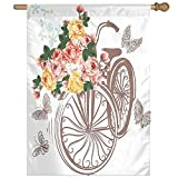 HUANGLING Bike Basket Full Of Spring Flowers And Leaves Natural Themed Romantic Home Flag Garden Flag Demonstrations Flag Family Party Flag Match Flag 27''x37''