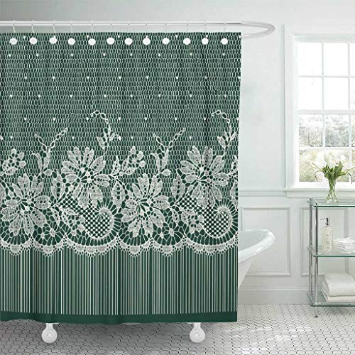 Green Toile Shower Curtain - Emvency Fabric Shower Curtain with Hooks Green Floral Lace Ribbon Russian Toile Flower Monochrome Shawl 1940 1980 72