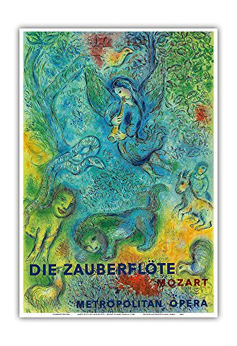 Die Zauberflöte (The Magic Flute) - Mozart - Metropolitan Opera - Vintage Concert Poster by Marc Chagall 1966 - Master Art Print - 13in x ()