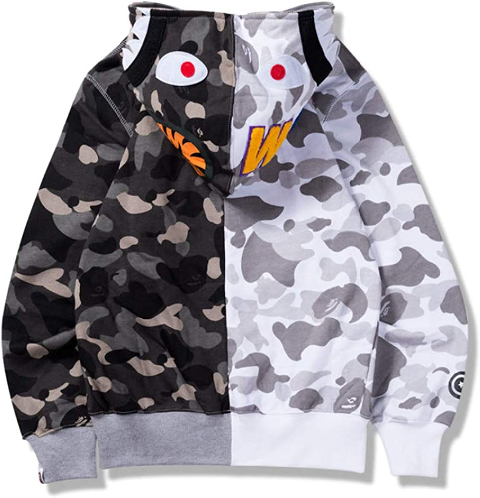 Bape A Bathing Ape Shark Head Camouflage Full Zip Hoodie Sweatshirt Jacket Coat