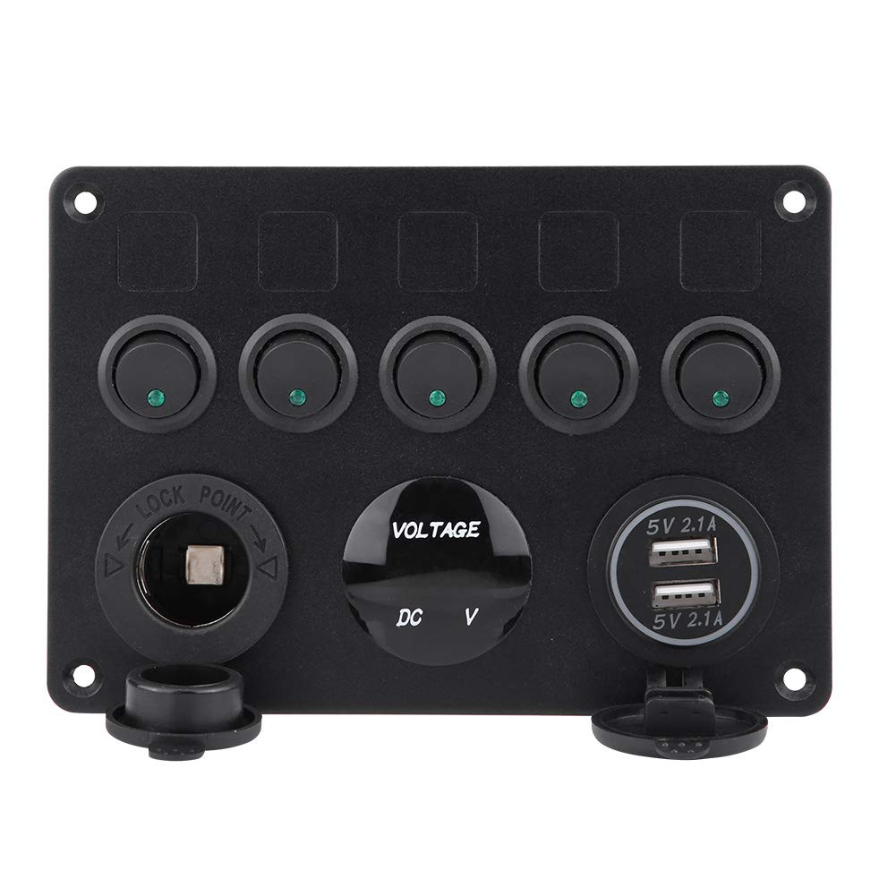 Vert LED KIMISS 12-24V 5 Gang On//Off Interrupteur /À Bascule Panneau Double Voltm/ètre USB Pour Voiture Bateau Marine Truck