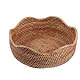 "amololo Handmade Rattan Round Fruit Basket Food Storage Bowls Kitchen Organizer Snack Serving Bowl (Large 11"")"