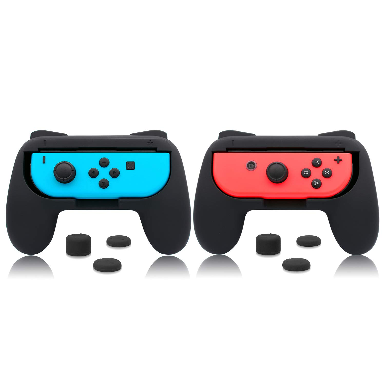 Grips for Nintendo Switch Joy-Con, FYOUNG Handle Controllers with Rubber Non- Slip Matte Surface for Nintendo Switch Joy Con (2 Packs) (Black) by FYOUNG