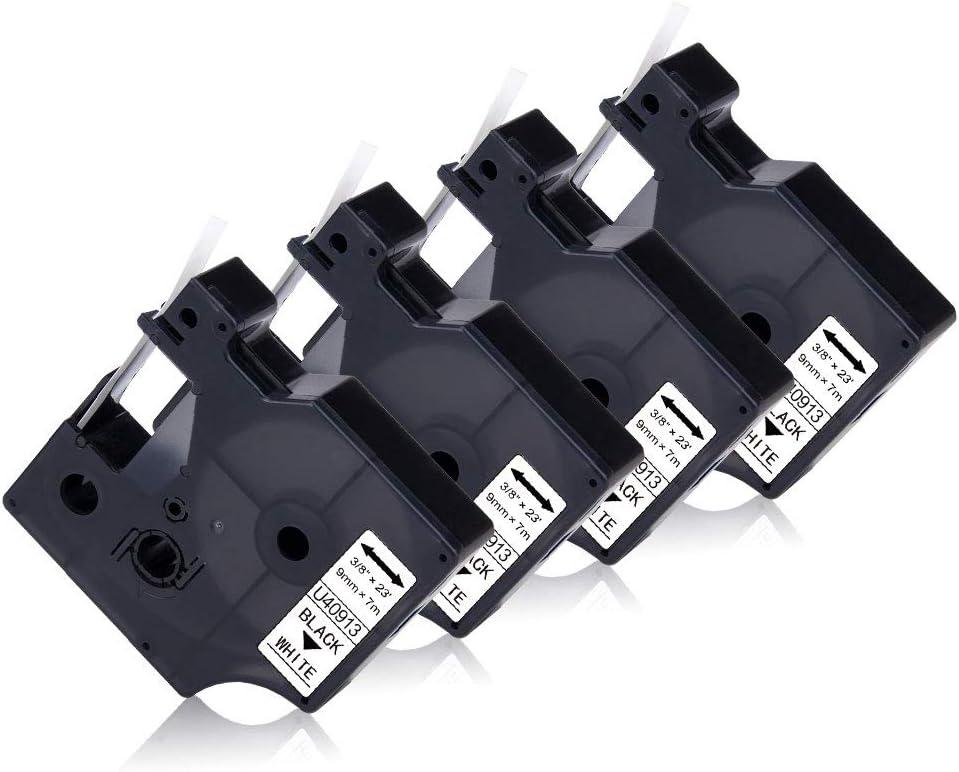 UniPlus Compatible Ruban pour /Étiqueteuse Compatible pour Dymo 40918 S0720730 Rubans d/étiquettes pour LabelManager 160 PnP 280 360D 500TS 100 110 120P 200 210D 9mm x 7m Noir sur Jaune Pack de 4