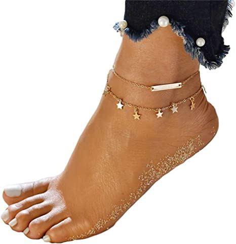 Myhouse Ankle Bracelet Beach Barefoot Sandals with Leave Tassel Foot Chain for Women and Ancient Silver Color