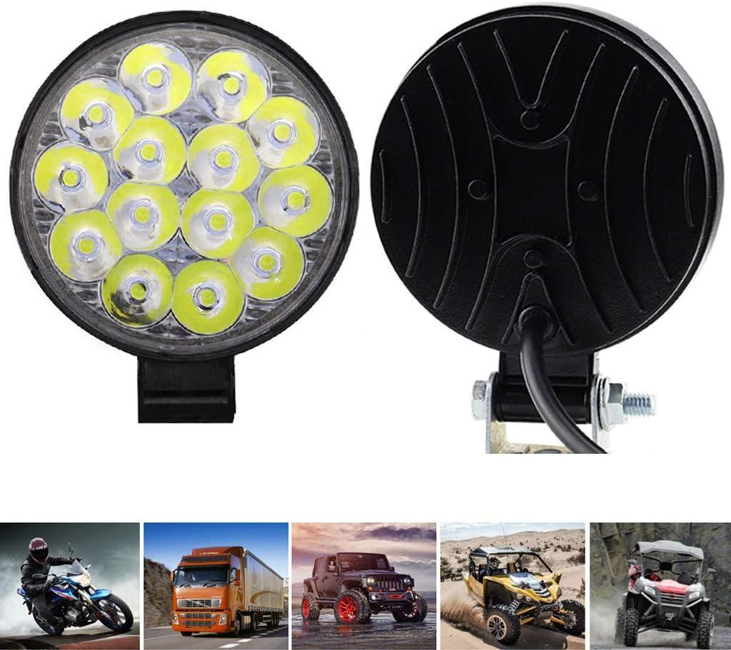 BAIRU Round LED Work Light 42W Spotlight LED Light Bar Fog Light for Offroad Truck