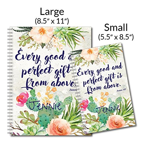 Perfect Gift Personalized Religious Inspiration Spiral Notebook/Journal, 120 College Ruled or Checklist Pages, durable laminated cover, and wire-o spiral. 8.5x11 | 5.5x8.5 | Made in the USA Photo #4
