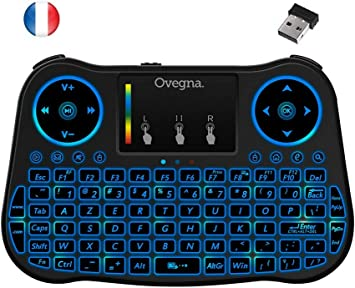 Ovegna T08: Mini teclado inalámbrico 2.4Ghz, francés (AZERTY), ergonómico inalámbrico con Touchpad – para Smart TV, Mini PC, HTPC, Consola, ordenador con Windows, Android, MacOS, Linux: Amazon.es: Electrónica