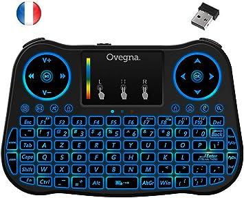 Ovegna T08: Mini teclado inalámbrico 2.4Ghz, francés (AZERTY), ergonómico inalámbrico con Touchpad – para Smart TV, Mini PC, HTPC, Consola, ordenador con Windows, Android, MacOS, Linux: Amazon.es: Electrónica