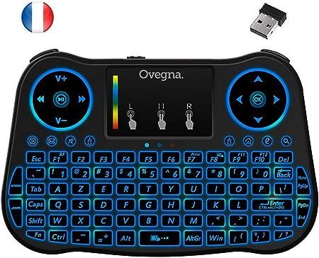 Ovegna T08: Mini teclado inalámbrico 2.4Ghz, francés (AZERTY), ergonómico inalámbrico con Touchpad – para Smart TV, Mini PC, HTPC, Consola, ordenador ...
