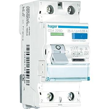 Hager CDA225D FI-Schalter 25A 30mA A-Typ 2-polig: Amazon.de: Elektronik
