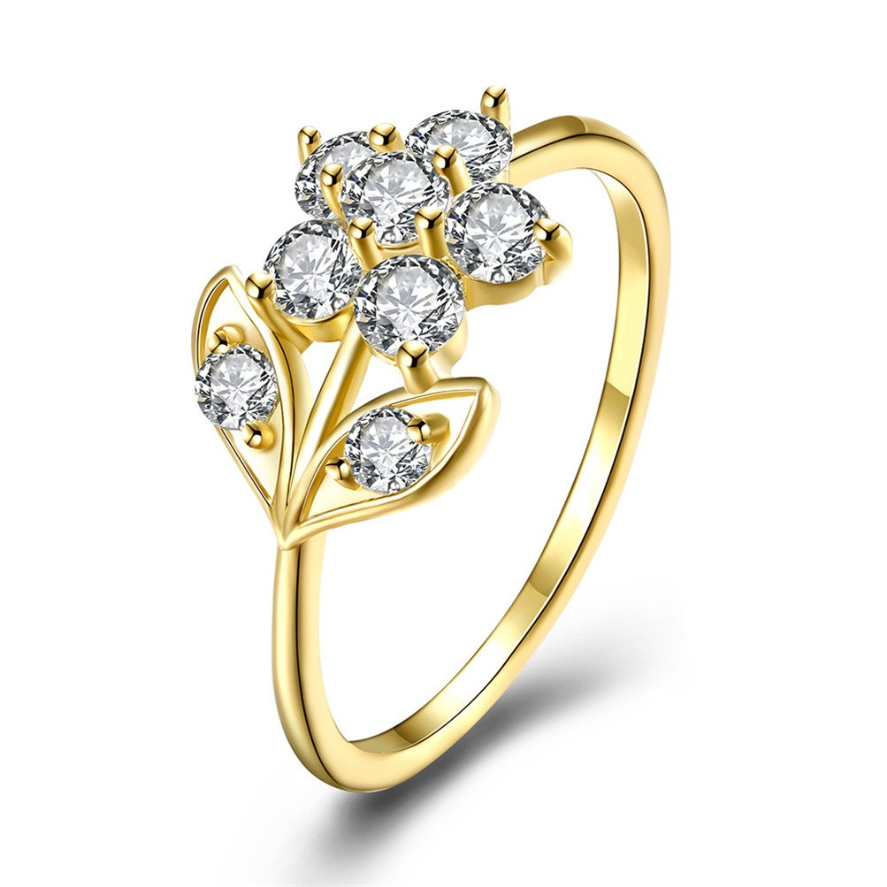 Mrsrui Flora Flower Engagement Ring 18K Gold Plated Novelty Jewelry for Girls