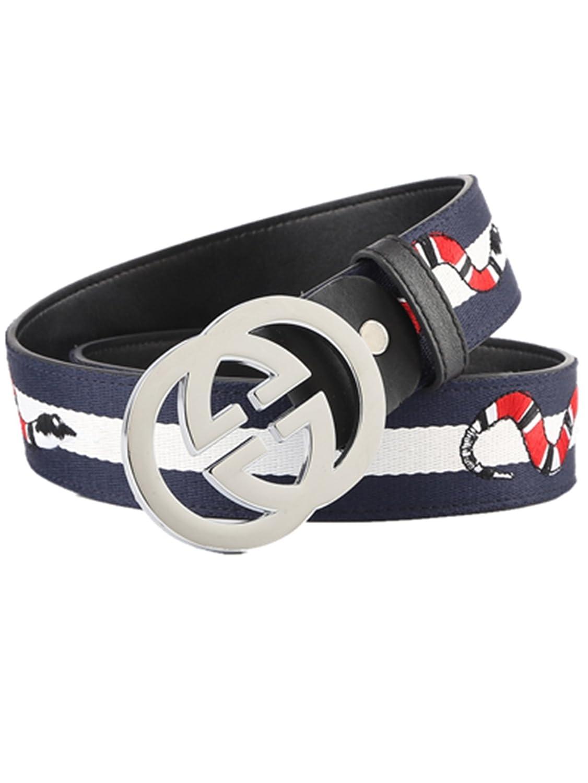 Men's fashion GG metal buckle canvas belt (Blue-Silver buckle, 120cm)