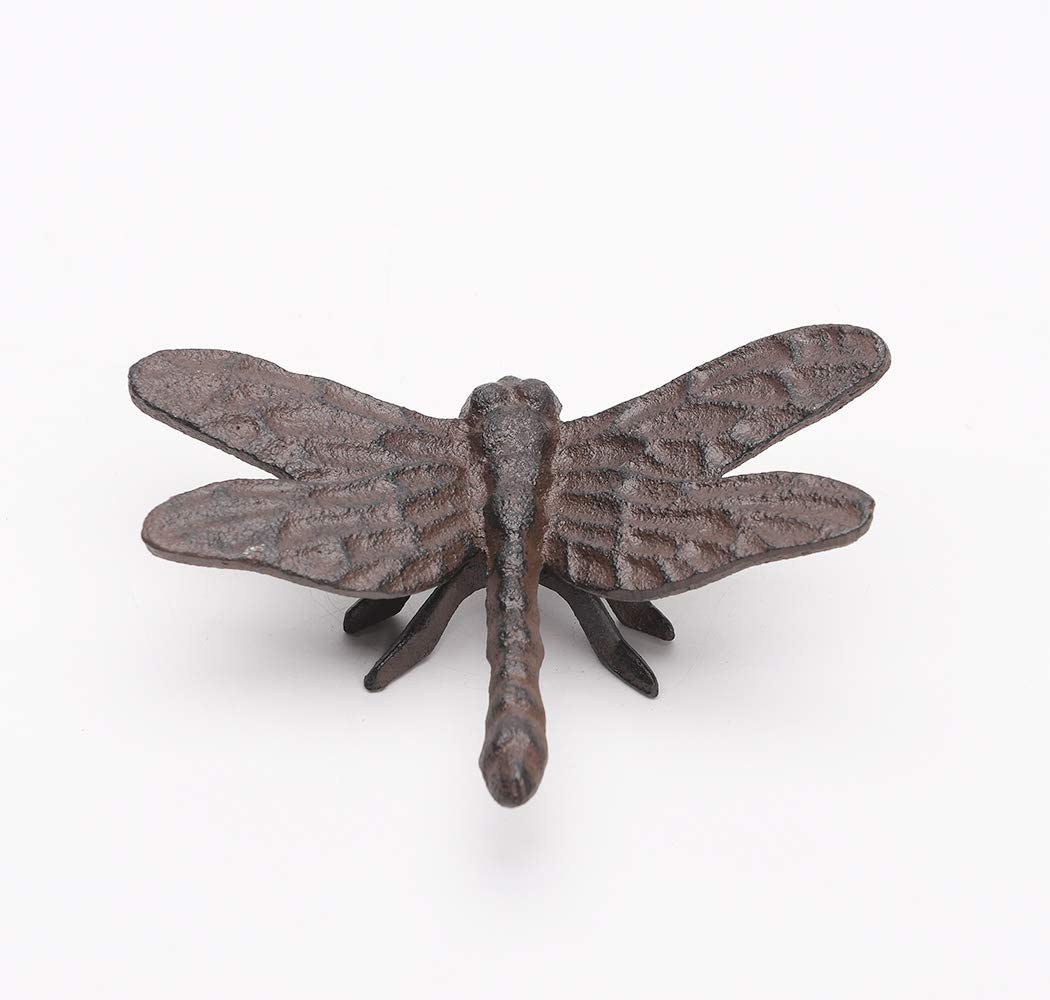 BRASSTAR Cast Iron Dragonfly Statue Ornament Garden Art Spirit Animal Figurine Home Office Desk Decor Handmade Gifts PTWQ004