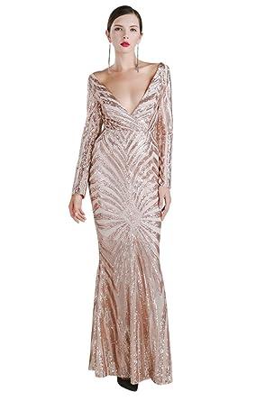0e1003e0e455 Missord Women's Sexy Deep-v Long Sleeve Retro Sequin Mermaid Maxi Dress Gold  XSmall 6