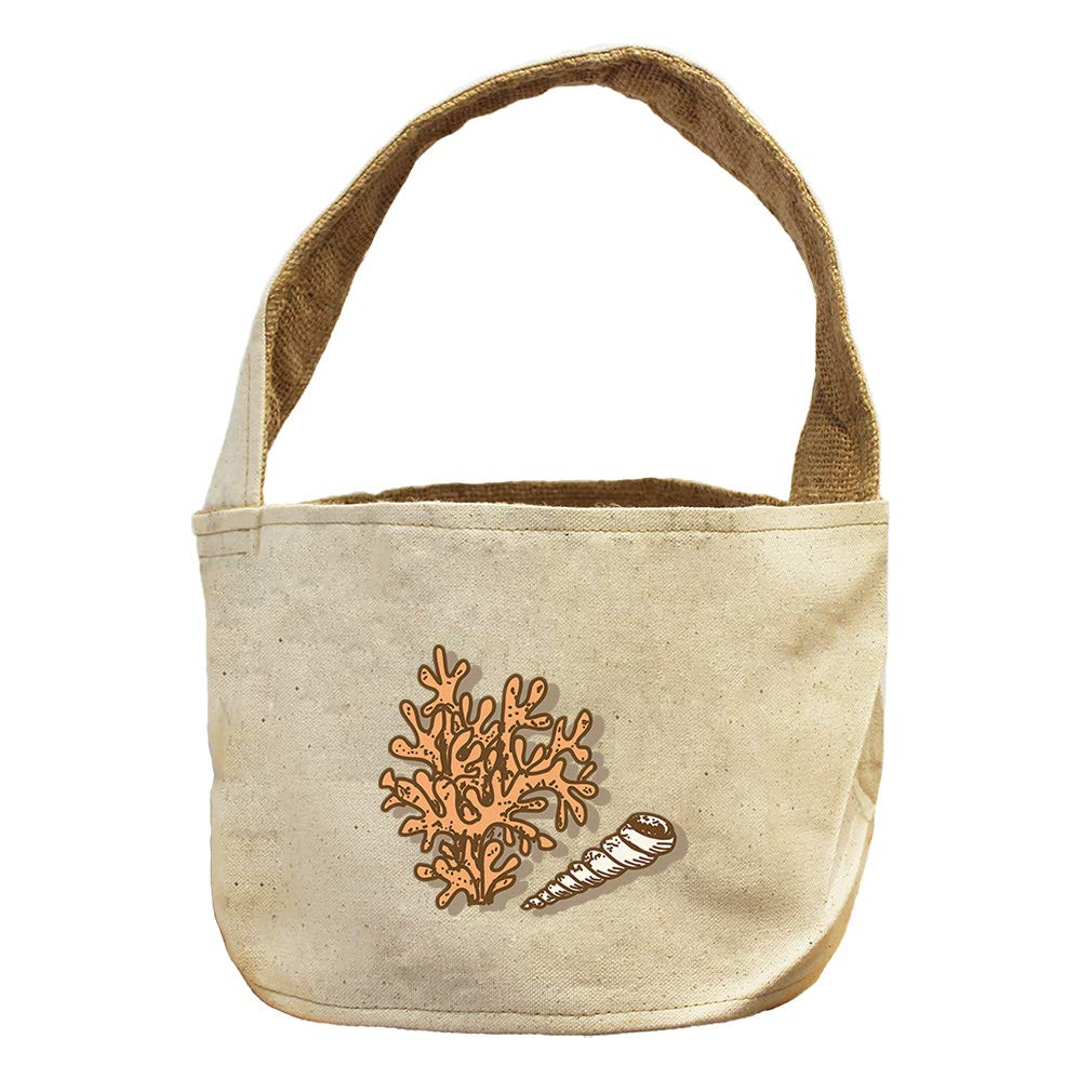 Style in Print Coral Spiral Seashell Animals Canvas and Burlap Storage Basket