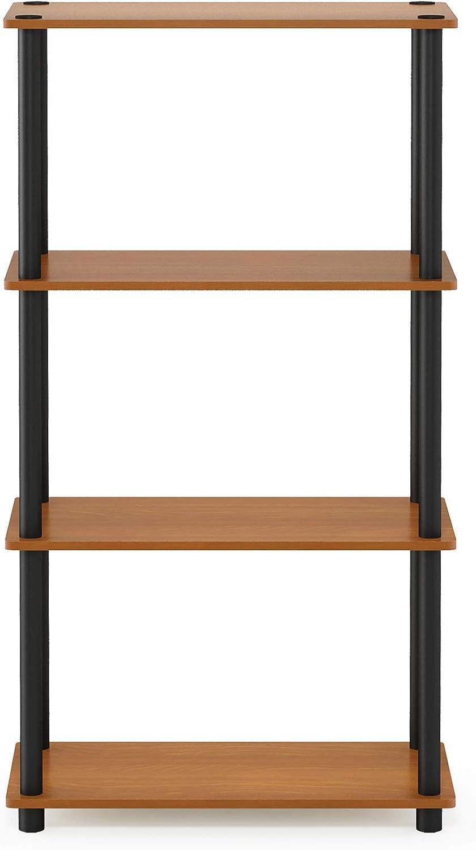 Furinno (99557LC/BK) Turn-N-Tube 4-Tier Multipurpose Shelf Display Rack - Light Cherry/Black: Furniture & Decor