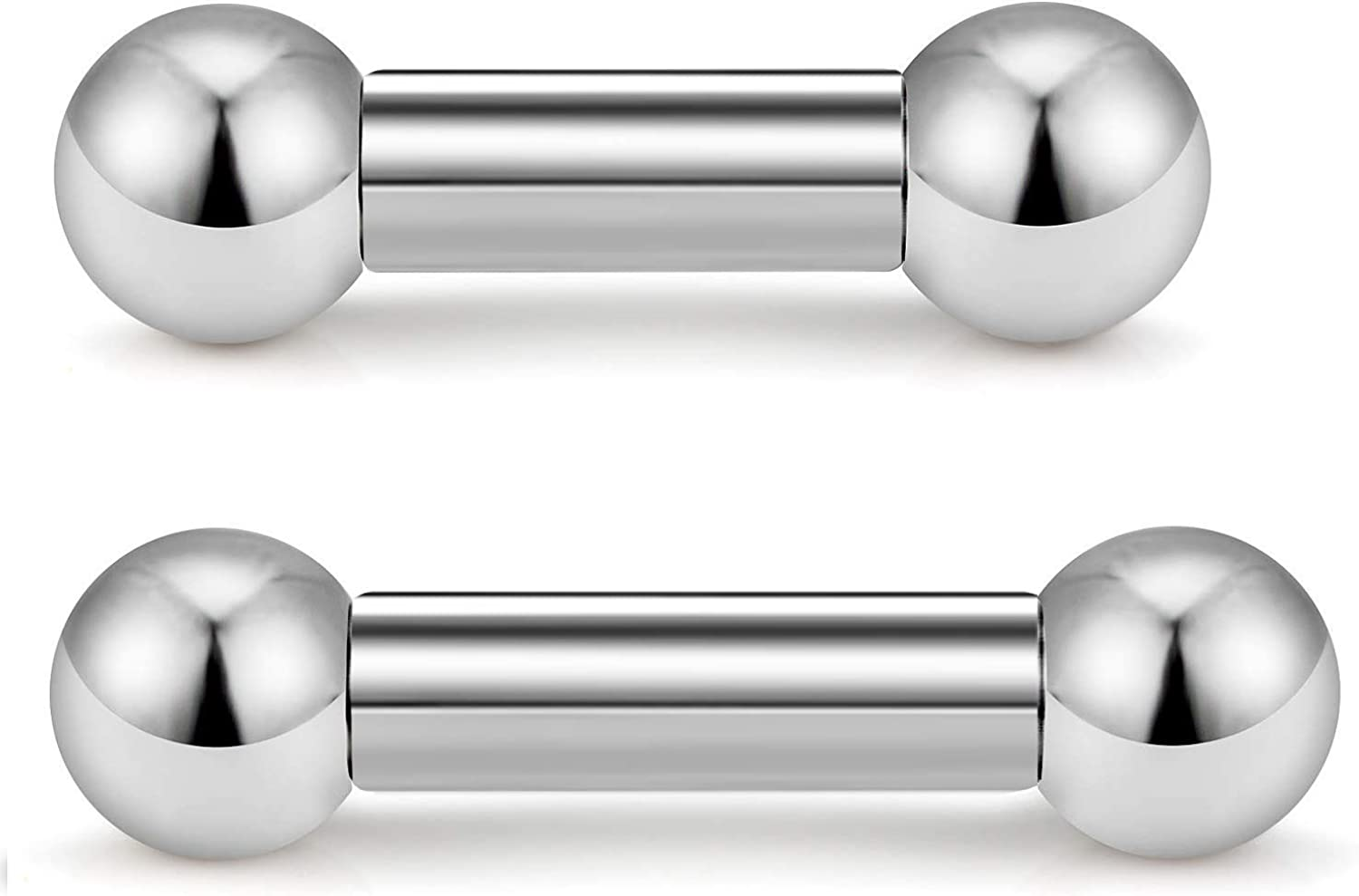 Surgical Steel Internally Threaded Curved Barbell Tongue Ring Eyebrow 14G to 00G
