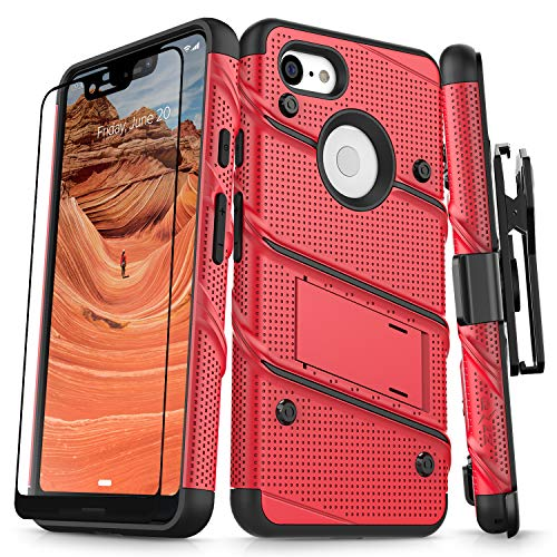 Zizo Bolt Series Compatible with Google Pixel 3 XL Case Military Grade Drop Tested with Full Glass Screen Protector Holster and Kickstand Red Black