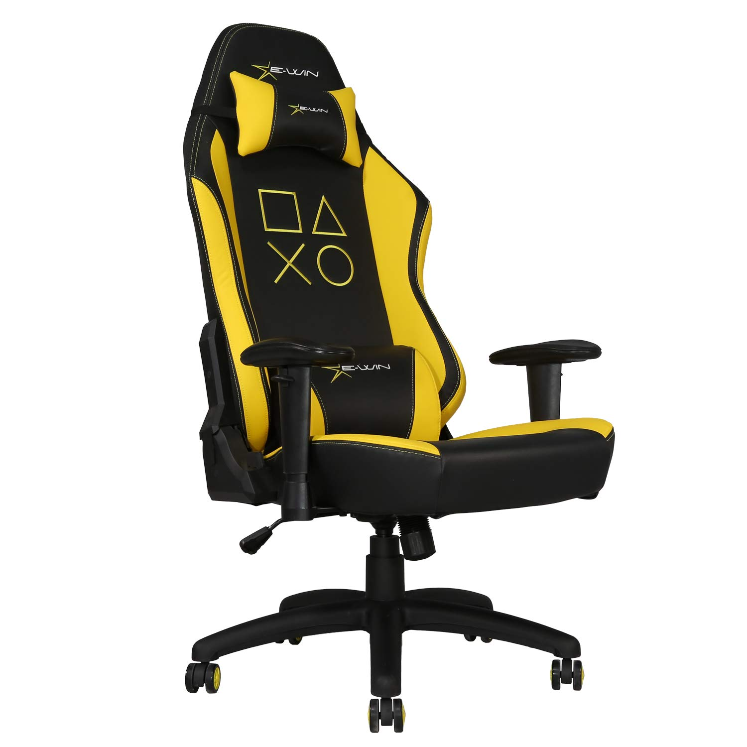 E-WIN Gaming 400 lb Big and Tall Office Chair,Ergonomic Racing Style Design with Wide Seat High Back Adjustable Armrest,Black Yellow