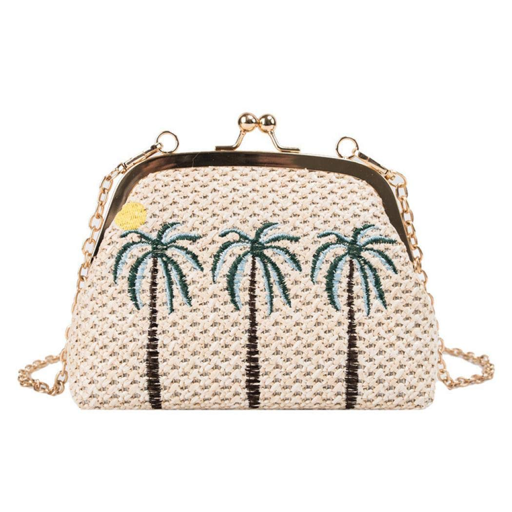dada5e4316b99 Puedo Handmade Summer Straw Bag Women Beach Rattan Woven Shoulder ...