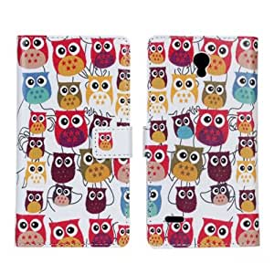 Bfun Packing Colorful Cartoon Owl Bird Wallet Leather Cover Case For Huawei ASCEND G700