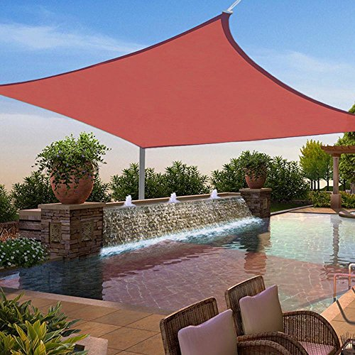 Yescom 12x12' Square Sun Shade Sail Top Outdoor Canopy Patio Cover Red (Detached Backyard Decks)