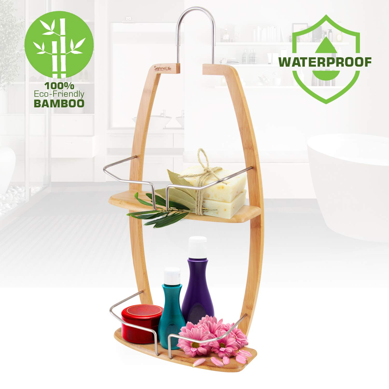 Rustproof Hanging Wood Shower Caddy - 2 Tier Waterproof and Natural Bamboo Bathroom Wall Organizer with Stainless Steel Shelf Rack for Shampoo, Conditioner and Soap Storage - SereneLife SLSHCD45 by SereneLife