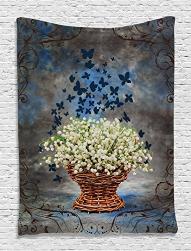 Lilly of the Valley Floral Decor Butterfly Art Paintings Vintage Weave Basket Grunge Retro Decorations Wall Tapestry Hanging for Bedroom Living Room Country Style, Navy Charcoal Green Brown White