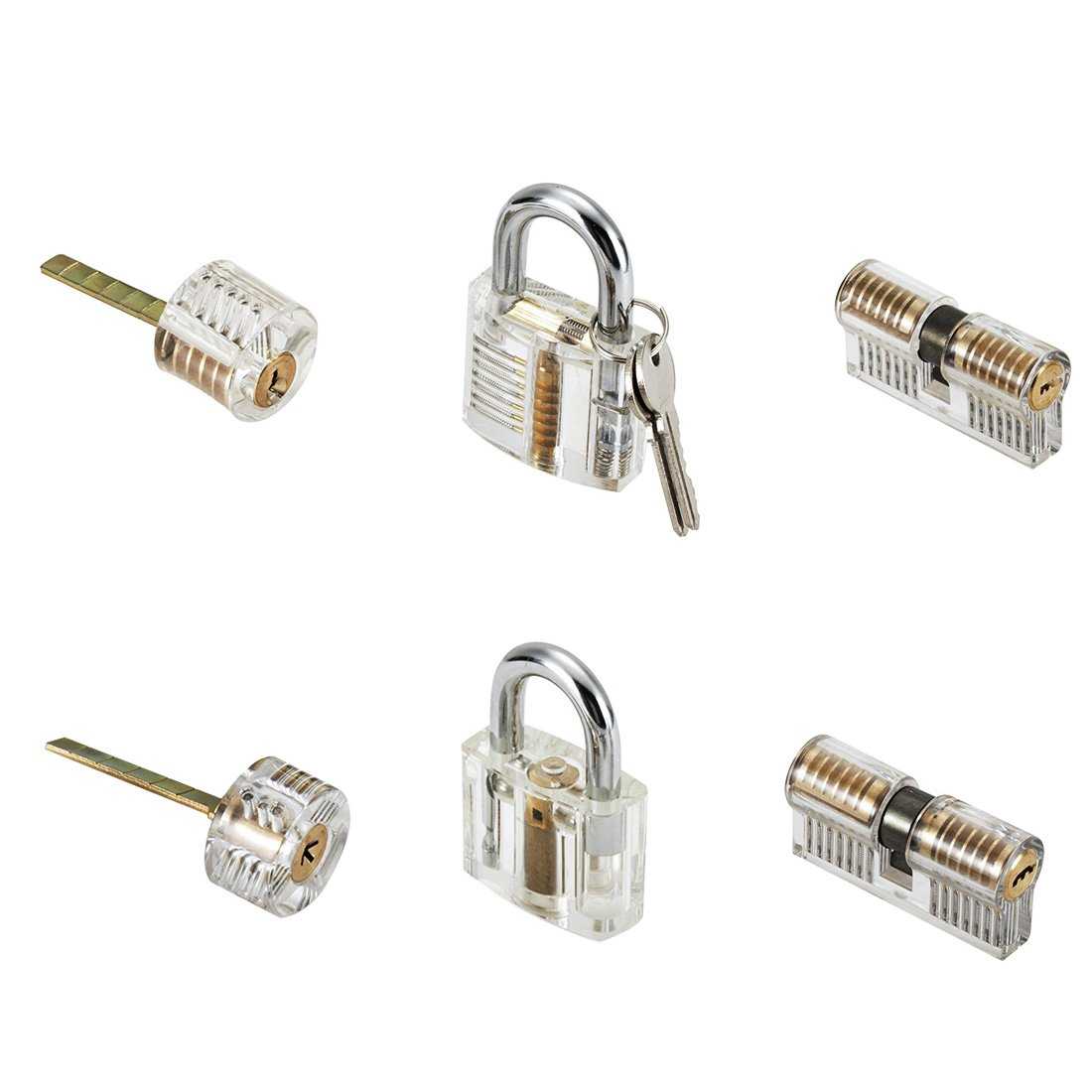 MICG 6pcs Transparent Lock View of Both End Practice 7Pin Pick Training Door Lock Skill 2Keys Set For Beginner