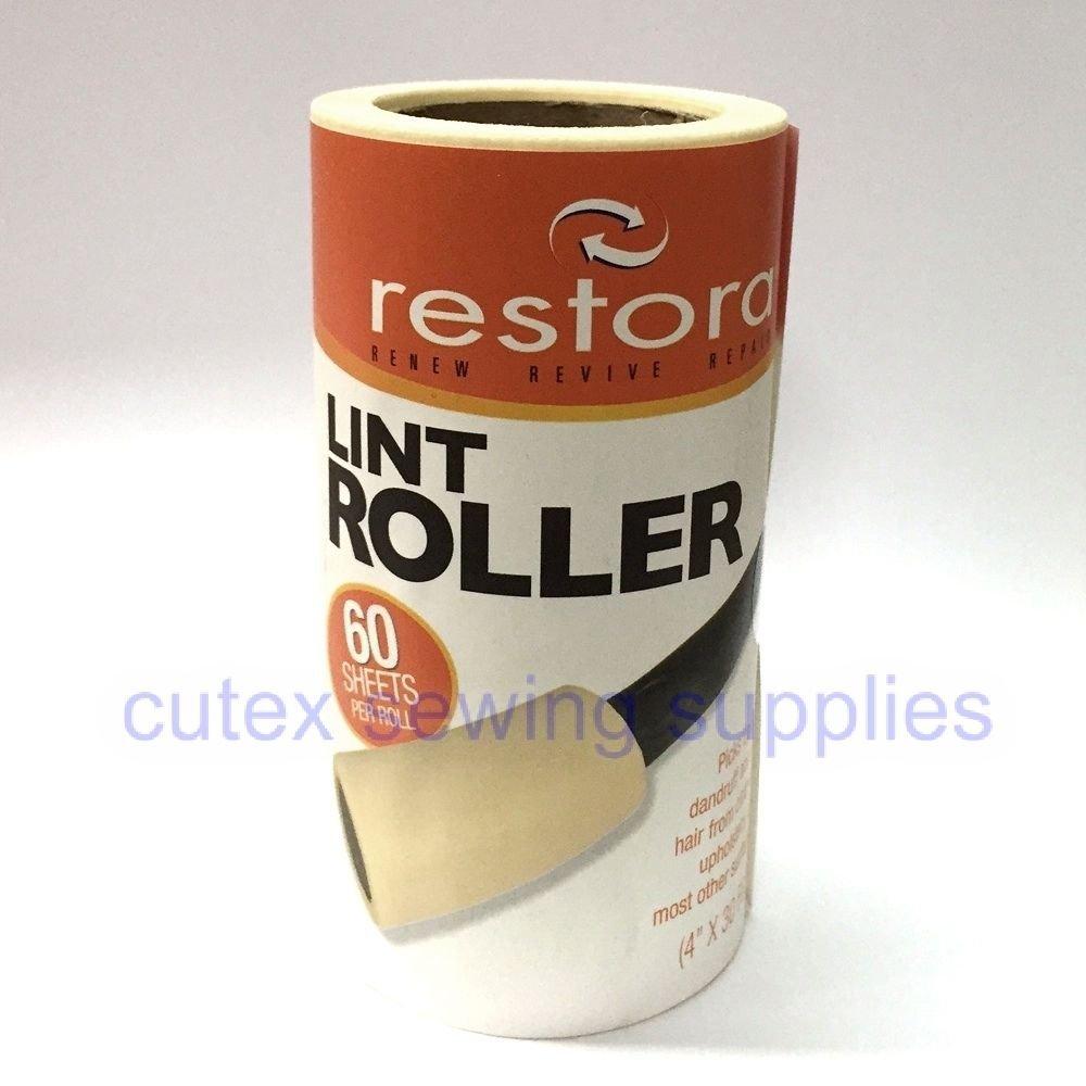 Restora Lint Roller Remover 60-Sheets Refill - 12 Rolls / No Handle