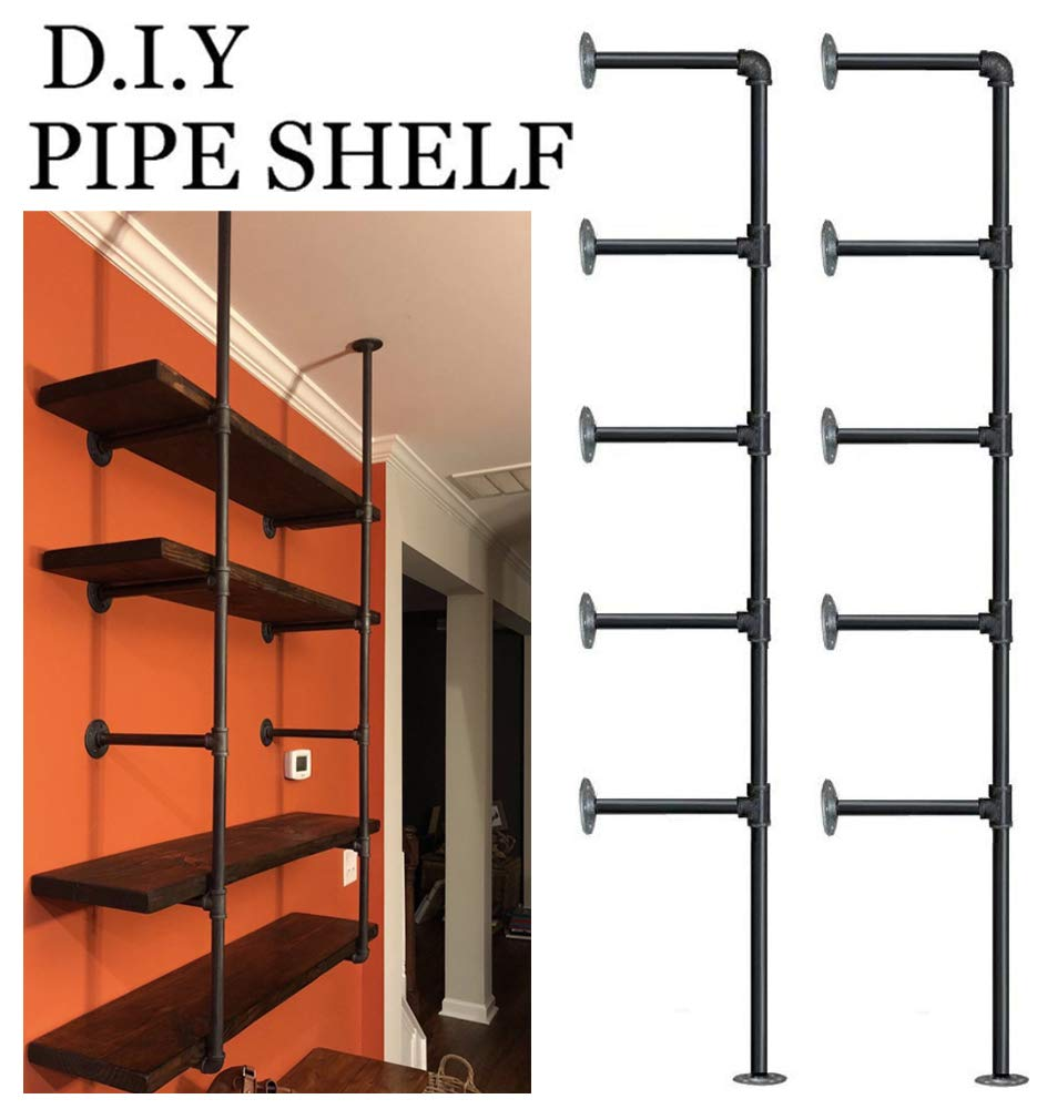 Industrial Retro Wall Mount iron Pipe Shelf,DIY Open Bookshelf,Hung Bracket,Home Improvement Kitchen Shelves,Tool Utility Shelves, Office shelves, bookshelves and bookcases (2Pcs) by FOF