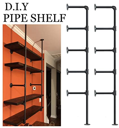 Pleasing Industrial Retro Wall Mount Iron Pipe Shelf Diy Open Bookshelf Hung Bracket Home Improvement Kitchen Shelves Tool Utility Shelves Office Shelves Home Interior And Landscaping Fragforummapetitesourisinfo
