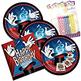 JJ Party Supplies Magic Party Birthday Theme Plates and Napkins Serves 16 With Birthday Candles