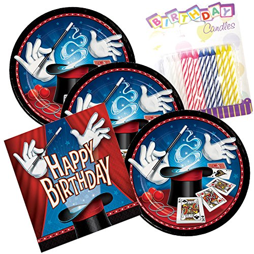 Magic Party Birthday Theme Plates and Napkins Serves 16 With Birthday (Magic Birthday Party)