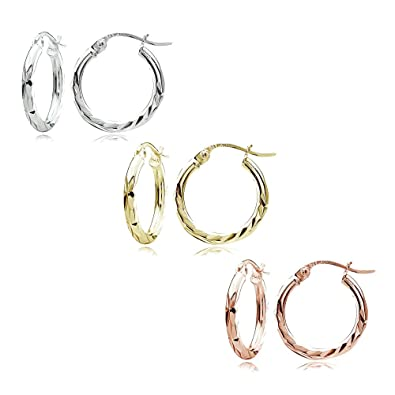 fba9ac58d Image Unavailable. Image not available for. Color: Sterling Silver Tri  Color 2x15mm Diamond-Cut Polished Hoop Earrings, Set of 3