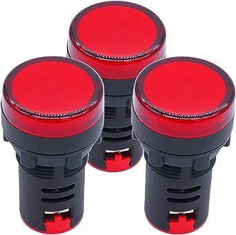uxcell Indicator Lights AC//DC 24V Pilot Light Red LED Flush Panel Mount 5//8 16mm 3Pcs