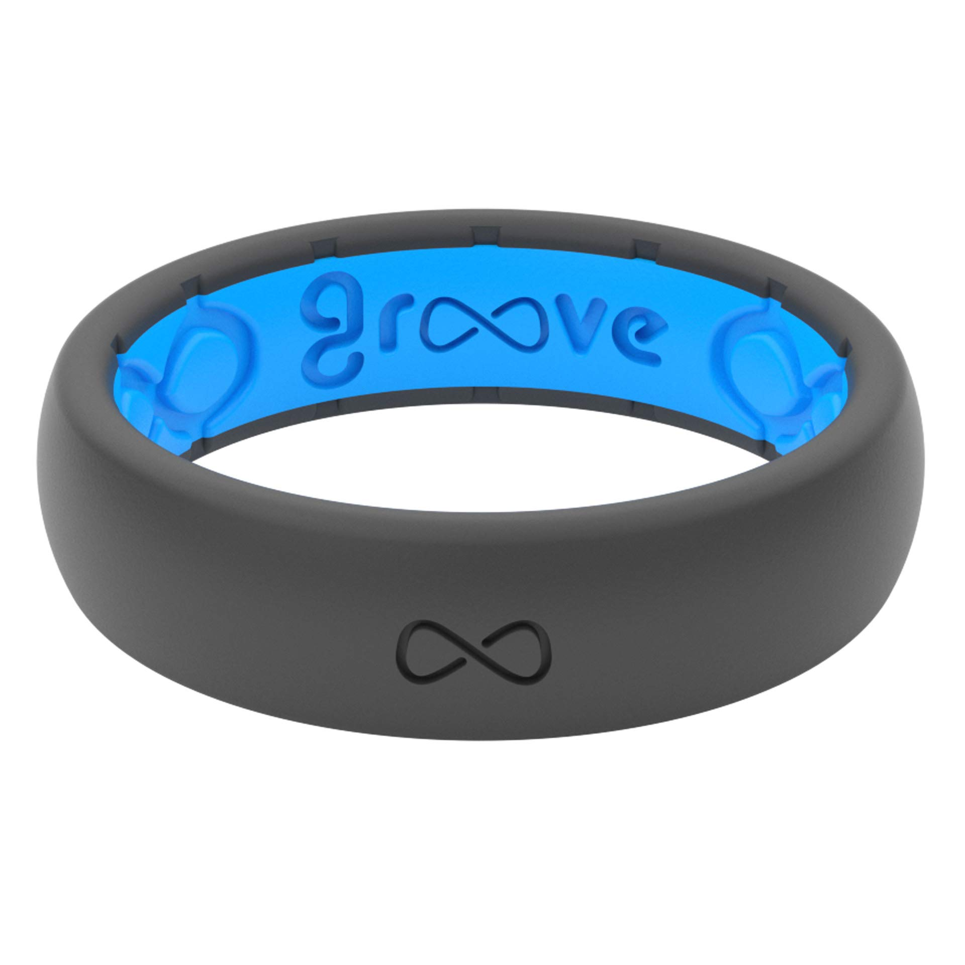 Groove Life - Silicone Ring for Men and for Women Wedding or Engagement Functional Rubber Band with, Breathable Grooves, Comfort Fit, and Durability - Thin Solid Deep Stone Size 4