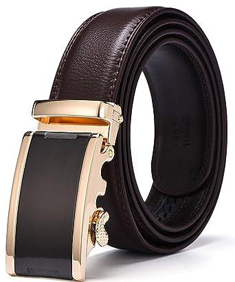 HW Zona Hombre sin agujeros carraca 3 - 3.5 cm ancho piel Cinturón ...
