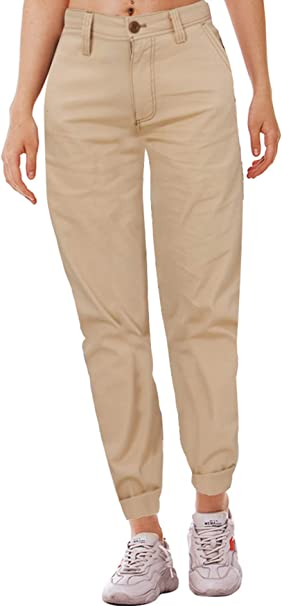 Goodstoworld Pantalones Chino Para Mujer Oficina Elegante Formal Pantalones Tobilleros Transpirable Con Bolsillos Laterales Corte Recto Pantalon Caqui 34 Xs Amazon Es Ropa Y Accesorios