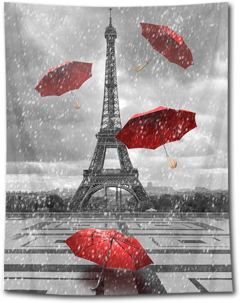 HVEST Eiffel Tower Tapestry Red Umbrella Flying in Paris Square Wall Hanging Black and White Rain Cityscape Tapestries for Bedroom Living Room Dorm Party Decor,70.9Wx92.5H inches