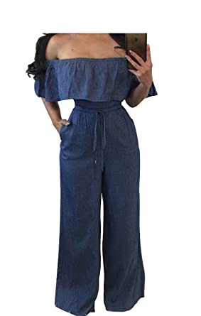 e827f2c7a9a Image Unavailable. Image not available for. Color  Sexy Off the Shoulder  Ruffled Jeans Jumpsuits Wrapped Bust Flouncing Wide Leg Rompers with Pockets