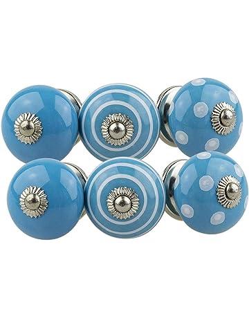 Perillas de Muebles conjunto surtido 6 piezas multicolore No. 081GN Blanco Azul - Perilla de