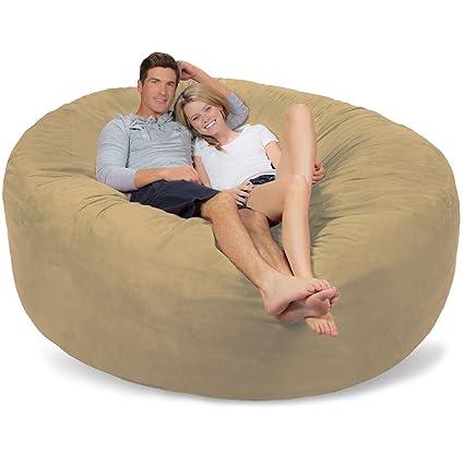 Genial Comfy Sacks 7 Ft Memory Foam Bean Bag Chair, Camel Micro Suede
