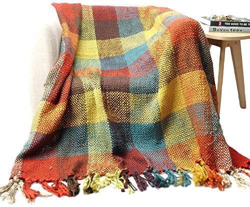 (battilo Cross Woven Throw Blanket in Bright, Fun Colors with Tasseled Ends 60