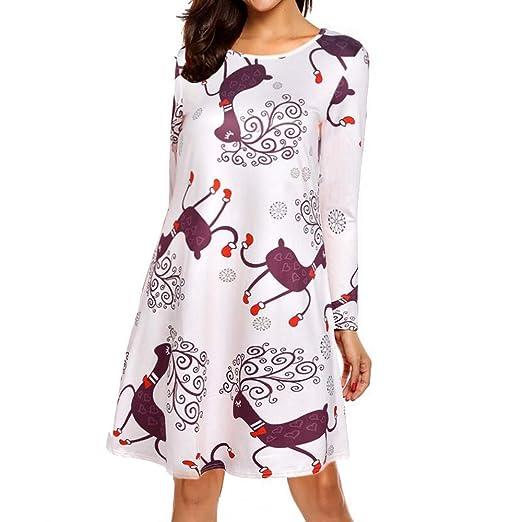 f4ec7ff1f075e Women Dresses ILUCI Women's Xmas Christmas Dress Long Sleeve Santa Outfit  Cozy Flared Dress at Amazon Women's Clothing store: